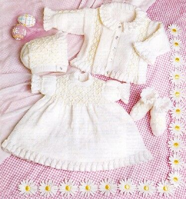 Baby Knitting Pattern Copy Dress Coat Bonnet Bootees 4 Ply Small Size Included