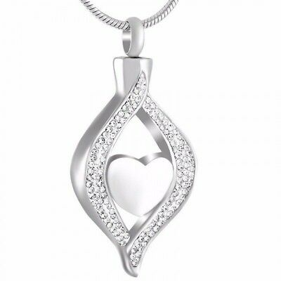 Cremation Memorial keepsake, Silver Teardrop Pendant and Necklace for Ashes.