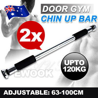 2X Pullup Doorway Exercise Portable Chin Up Bar Home Gym Workout Fitness Equip
