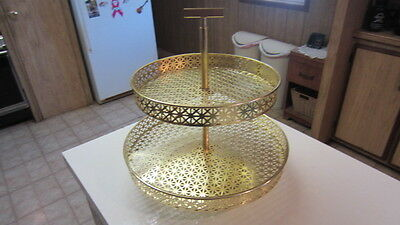 Vintage Mid-Century Two Tier Metal Mesh Lazy Susan / Serving Tray