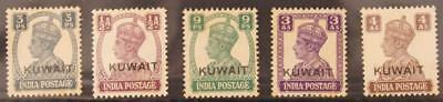 Kuwait 1942 King George VI 5 Stamps of the 1940s MH