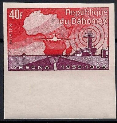 Dahomey 1970 Air trafic control Plane Aircraft Tower Aviation Maps Imperf MNH 2