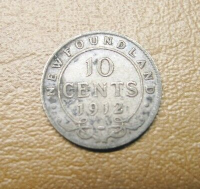 Low Mintage 1912 Newfoundland Canada Sterling Silver 10 Cent Coin