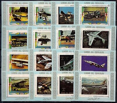 Umm al Qiwain Aviation War Planes Aircraft Airplanes DeLuxe compl set MNH(4)