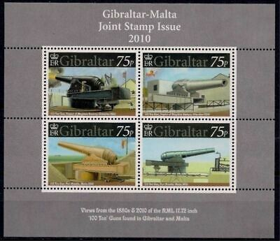 Gibraltar 2010 Guns Fortress Military Weapons War Malta Joint Issue m/s MNH
