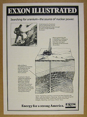 1978 Exxon nuclear power Uranium drilling mining diagram art vintage print Ad