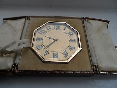 Art Deco Harrods 1920's Brass Bedside 8 Day Travel Clock In Fitted Leather Case