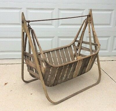 Large Antique Swinging Baby Cradle Wooden Hanging
