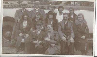 C 1930 - Peoples  Outing On A Coach - Vintage Photo Postcard