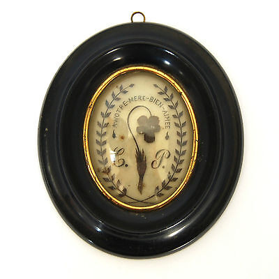 Antique Victorian Mourning Hair Framed Memorial w/ MOTTO Reliquary Memento Mori