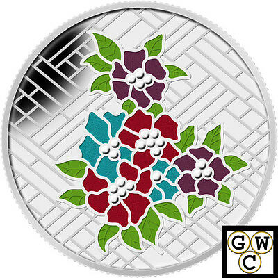 2014Craigdarroch Castle Stained Glass Enameled Prf $20Silver Coin1oz.9999(13903)