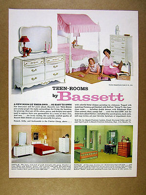 1961 Bassett Teen-Rooms pink canopy bed girl's bedroom photo vintage print Ad