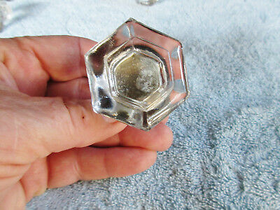 1  Large Clear Antique Vintage Glass Drawer KNOB Door Pull With Brass Backing