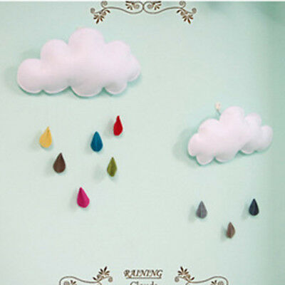 White Cloud Rain Drops Nursery Mobile Baby Wall Hanging Toys Decoration