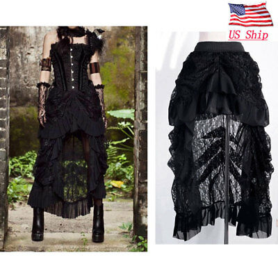 Women's Gothic Asymmetrical Lace Skirt Steampunk Ruffle High-Low Folded Dress