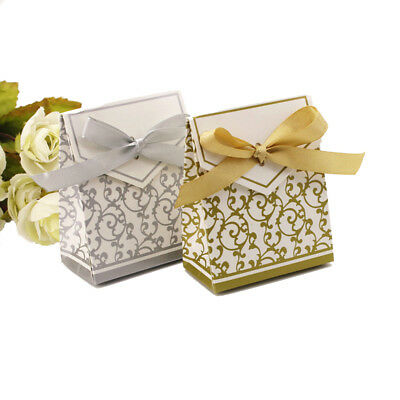 10PCS Elegant Wedding Party Favor Gift Candy Paper Boxes Bags with Ribbon JX