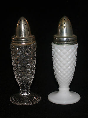 Antique Eapg Glass Pair Of Salt Shakers Sawtooth Clear Milk Glass White Opaque