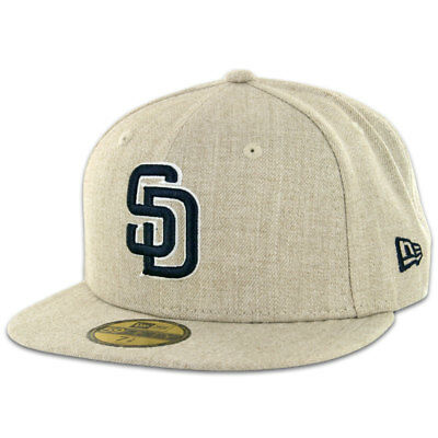 New Era 59Fifty San Diego SD Padres Fitted Hat (Oatmeal Heather) Men's MLB Cap