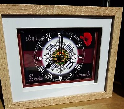 Scots Guards 10 X 8 Box Frame Picture Clock
