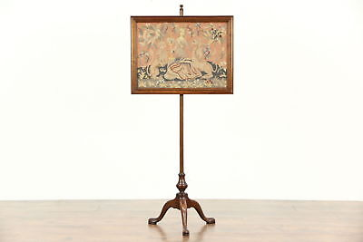 Fireplace Screen 1920 Antique Mahogany Adjustable Unicorn in the Garden Tapestry