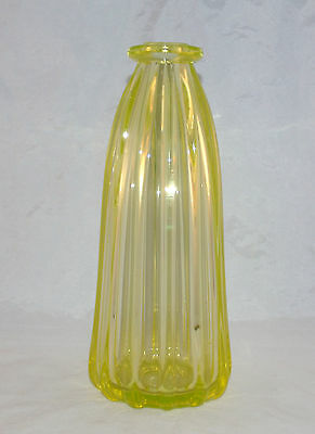 Antique Canary Yellow Pillar Mold Molded Glass Syrup Bottle Decanter
