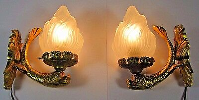 Gilt Dolphin Sconce: Antique Pair French Figural Empire Flame Torch Wall Light