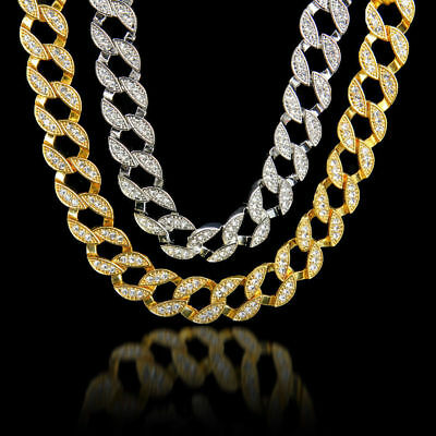 Iced Out Lab Diamond Gold Finish Miami Cuban Link Chain 30 Inch