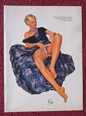 Alain Gourdon 'ASLAN' Sexy Girl Magazine Pin-Up Art Page ~ Cyril Connolly Quote