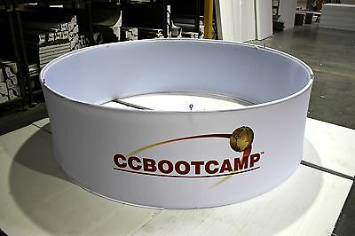 "10' x 3' Circle Hanging Banner Trade Show Booth with Fabric Cover - 120"" x 36"""