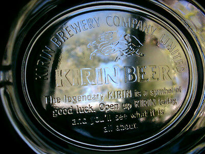 Vintage Clear Glass Ashtray KIRIN BREWING COMPANY Oval w/ Logo
