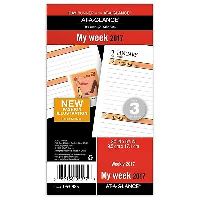 """At-A-Glance Day Runner Weekly Planner Refill 2017 Loose-Leaf 3-3/4 x 6-3/4"""" S..."""