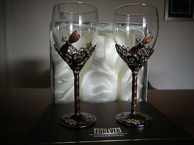 Copper enamel and crystal set dragonfly toasting goblets