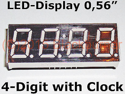 """1,2,5 Pieces LED Display 4Digit 7Segment 0,56"""" + Clock 12pin Common Anode Green"""