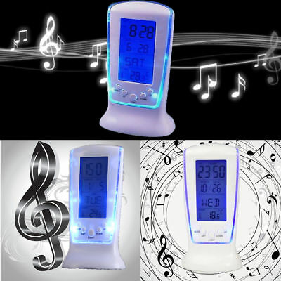 Digital Backlight Blue LED Display Table Alarm Clock Snooze Thermometer Calendar