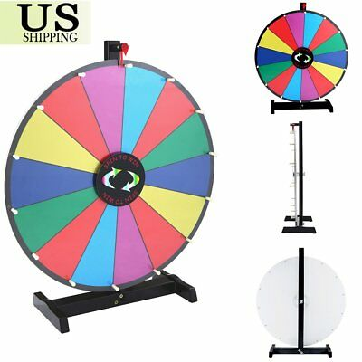 """Upgraded Editable 24"""" Color Prize Wheel Fortune Tabletop Spinning Game SW"""