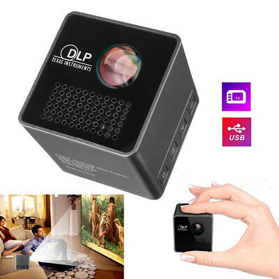 1080P HD P1 Cube DLP LED Mini Projector Pocket Home Theater Multimedia USB/TF