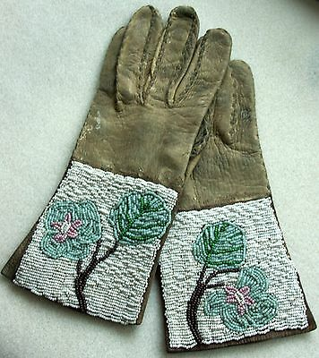 Antique Rare Women's Beautiful Beaded Gauntlets From Ranch Estate Collecton