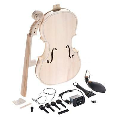 DIY 4/4 Full Size Solid Wood Acoustic Violin Fiddle Kit with EQ Spruce Top J5C2