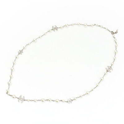 51b28f1b6bdf Authentic Chanel Coco Mark Pearl Long Necklace A17V White Grade A Used - At