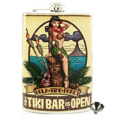Tiki Bar Stainless Steel Hip Flask Gift Retro Alcohol Bar Drink Novelty Kitsch