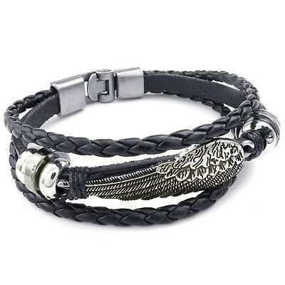 MENDINO Men's Alloy Leather Bracelet Braided Angel Wing Feather Cord Rope Black