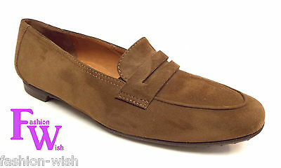 8c99041326f New PAUL GREEN Size 6.5 NICKY Brown Suede Penny Loafers Flats Shoes 6 1 2