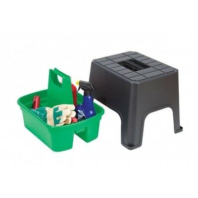 Cleaning Caddy Step Stool, Sit, Step & Store 40 X 33 X 31Cm - Black & Green
