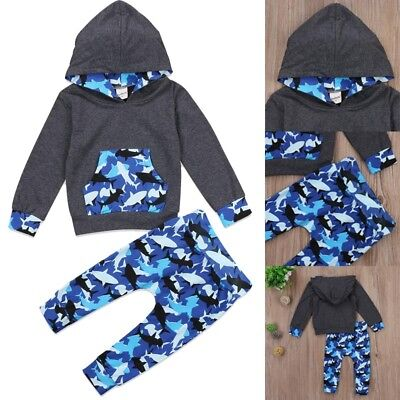 Newborn Infant Baby Boys Girls Clothes Hooded T-shirt Tops Coat+Pants Outfits