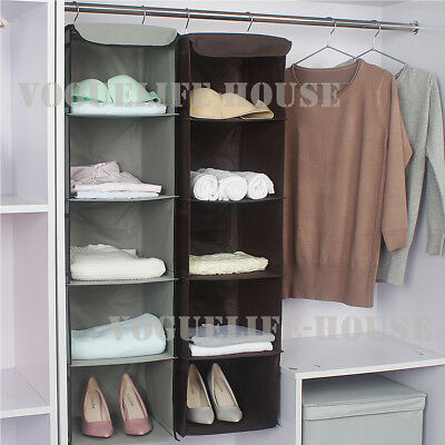 5 Section Shelves Hanging Wardrobe Shoe Garment With Side Pockets