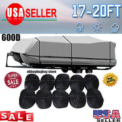 17' 18' 19' 20'ft Pontoon Boat Cover 600D Heavy Duty Waterproof Fabric Finshing@