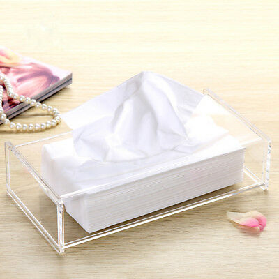 Acrylic Clear Transparent Tissue Box Cover Case Holder Paper Storage Organizer