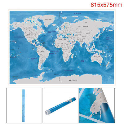 Blue Deluxe World Map Scratch Off Personalized World Map Poster Travel Vacation