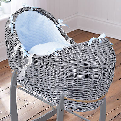 New Clair De Lune Blue Marshmallow Grey Wicker Baby Moses Basket / Noah Pod