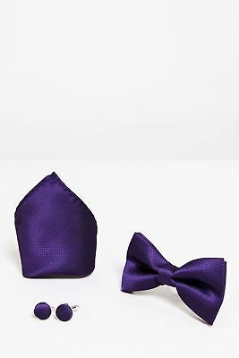 Mens Marc Darcy 3 Piece Purple Patterned Bow Tie Cufflinks Pocket Square Set